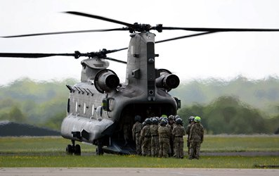 Cadets recently visited RAF Odiham and, amongst other activities, flew in  the Chinook helicopter.
